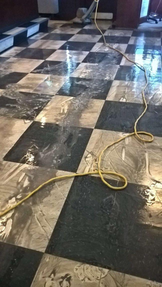 Dirty VCT Floor Scrub