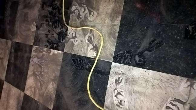 Old Dirty VCT Floor Scrub