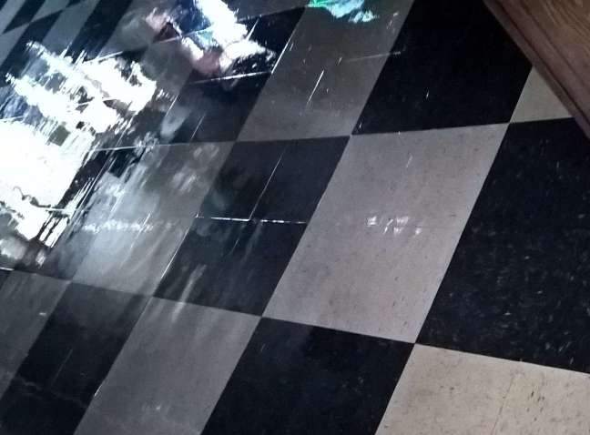 Old VCT Floor Scrub and Re-Coat in St Michael MN Bar
