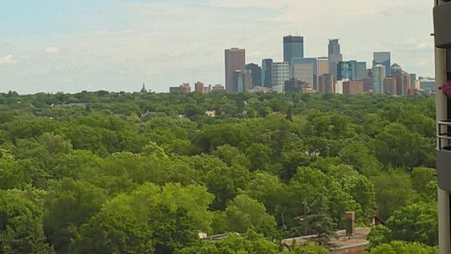 View of Downtown Minneapolis from Lake Calhoun Hi-Rise Building
