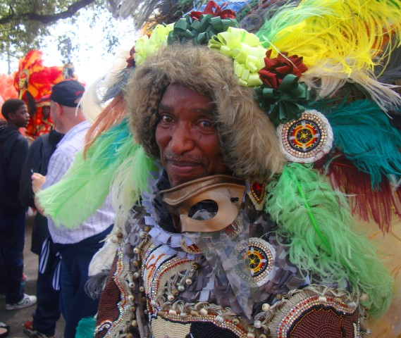 "This Mardi Gras Indian chief told all passersby that he is the ""wildest chief"""