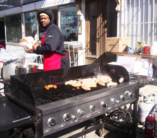 Stacks Of Hot Links On A Brazier At 2015 New Orleans Po Boy Festival