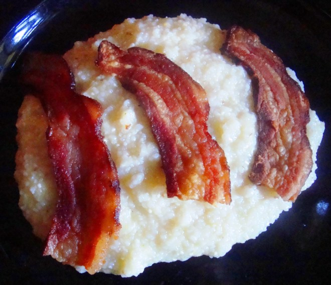 RL Reeves Jr Cured Bacon With Farm Grits