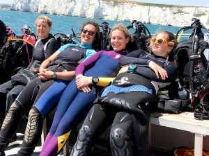 THe Ladies of Scuba Blue relax post-dive