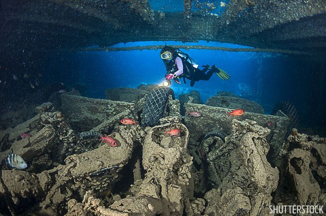 Motorcycles inside the Thistlegorm shipwreck in the Red Sea