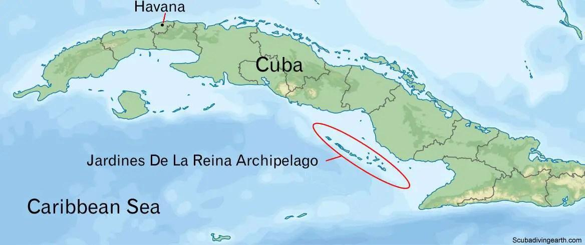 Jardines De La Reina archipelago of Cuba map