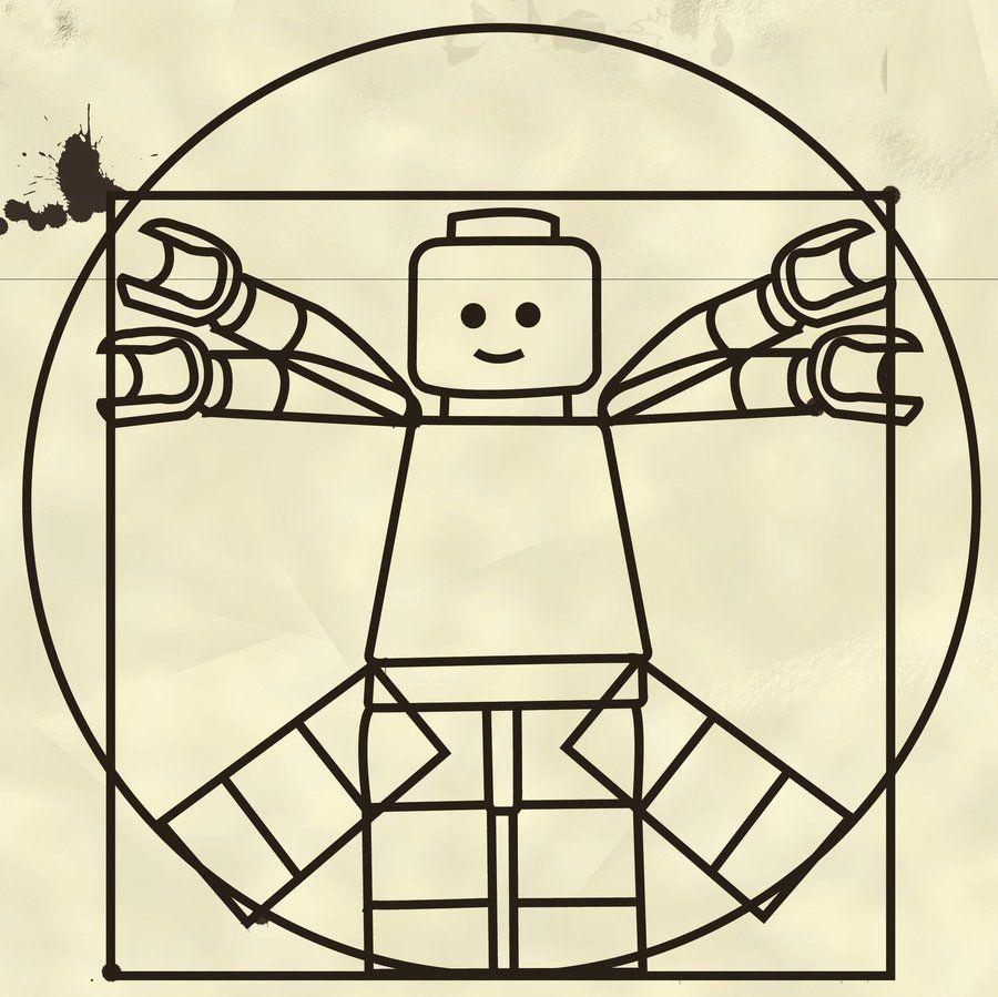Imagen Del Hombre De Vitrubio Con Forma Lego