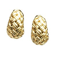 Gold Basketweave Shrimp Earrings | Gold | Earrings ...