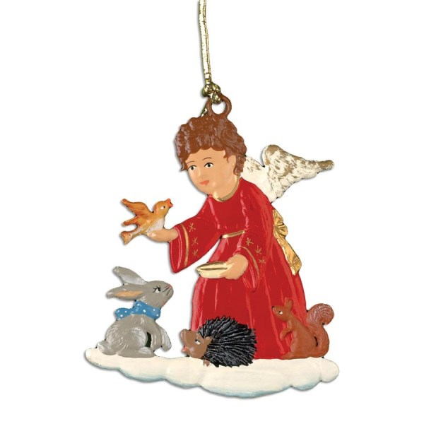 Pewter Angel With Animal Friends Ornament Christmas