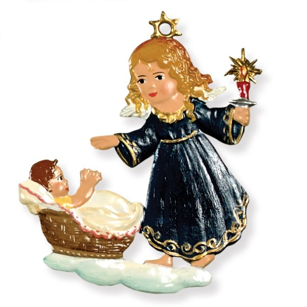 Pewter Guardian Angel And Baby Ornament Christmas