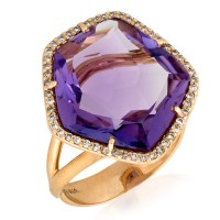 18k Rose Gold Amethyst Ring with Diamonds   Cocktail Rings ...