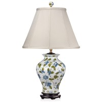 Blue Flowers Green Vine Porcelain Lamp | Table & Desk ...
