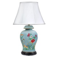 Light Blue Lamp with Poppies | Table & Desk Lamps | Lamps ...
