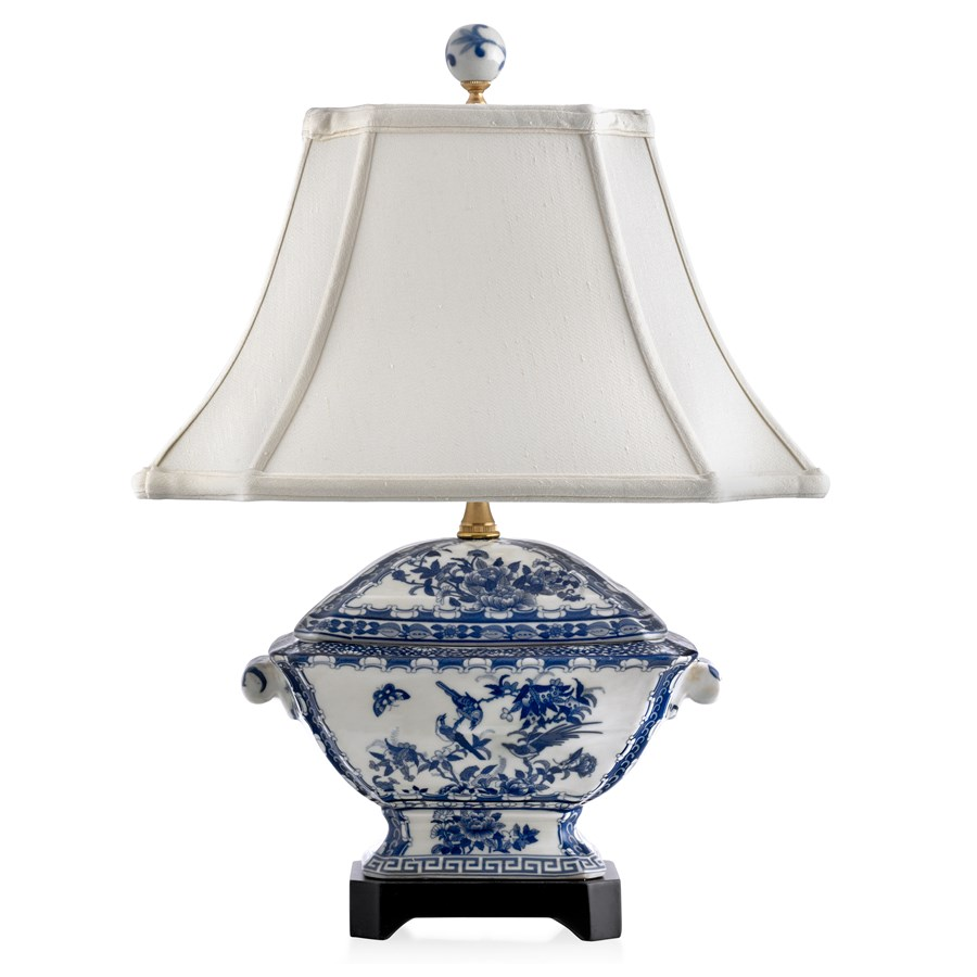 Porcelain Canton Tureen Lamp Blue White