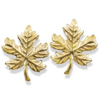 Gold Maple Leaf Earrings Pin