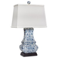 Blue White Porcelain Flat Jar Lamp