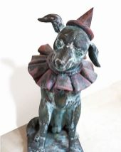 Clown dog sculpture