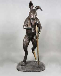 Retour-de-Chasse-broze-rabbit-sculpture - -Sculptura - -Christian-Maas-for-sale