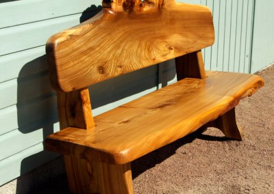 6ft carved burr elm bench