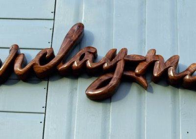 Hand-carved shop office sign
