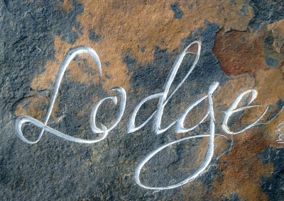 Cedar Lodge slate carved house sign