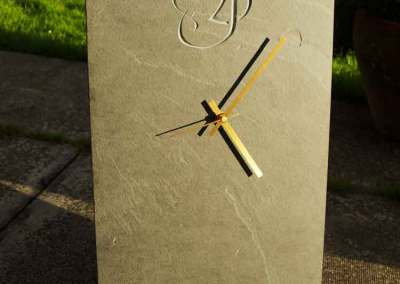 Hand-carved lettering on slate clock, wedding gift