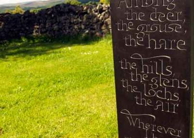 Hand-carved lettering slate Scottish Highlands poem