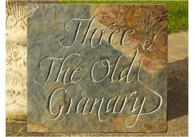 hand-carved lettering slate house sign The Old Granary