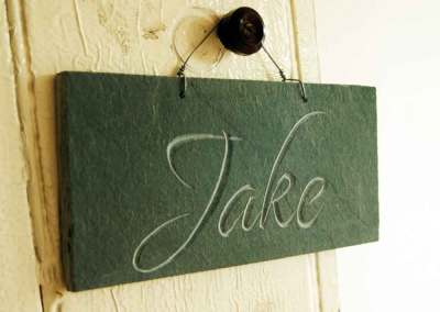 Hand-carved lettering children's name slate gift
