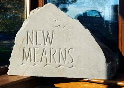 hand-carved lettering sandstone house sign New Mearns