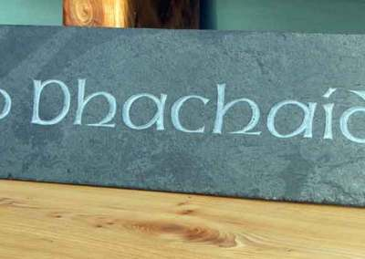 hand-carved lettering Celtic slate house sign Mo Dhachaidh
