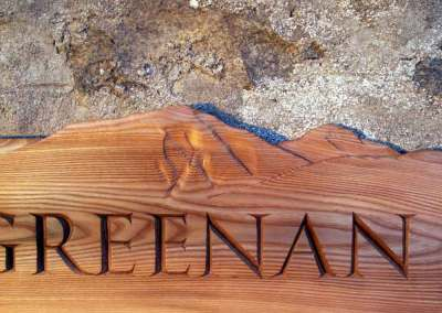 hand-carved lettering wood house sign Mountgreenan elm