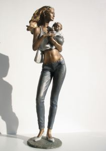 Marco che cavalca il vento cm 41x60x21 anno 2008 - scultura cavallo, statua cavallo, statue di animali, sculture di animali, statue di cavalli, statue animali per giardino