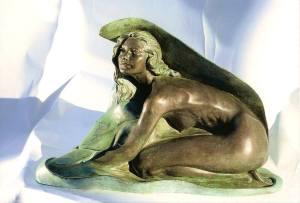 Ninfa-cm 26x39x20-2001 - statua-donna-in-bronzo-vendita-sculture-statue-di-bronzo
