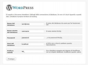 Ecco la schermata per la configurazione on-line di WordPress con i dati del database