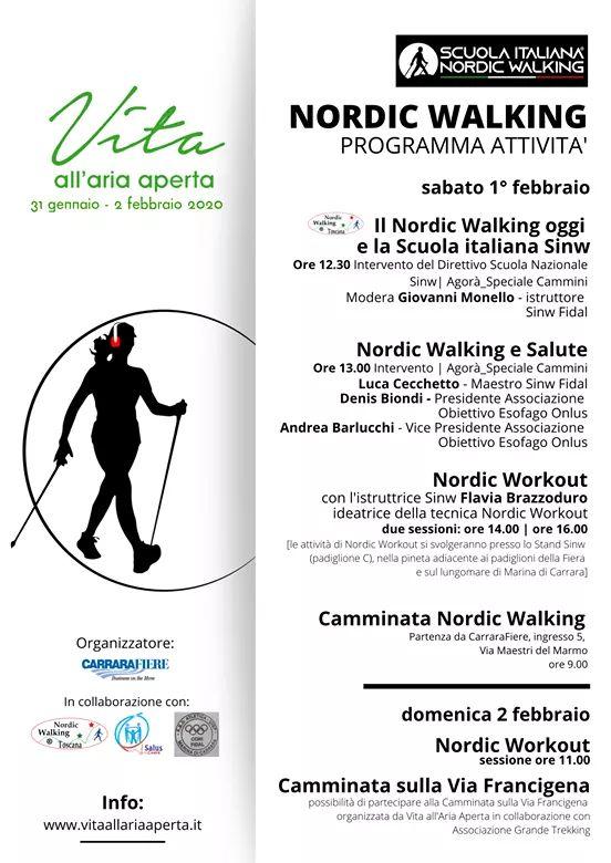 Nordic Walking SINW a Vita all'aria aperta – 31 gennaio – 2 febbraio Marina di Carrara