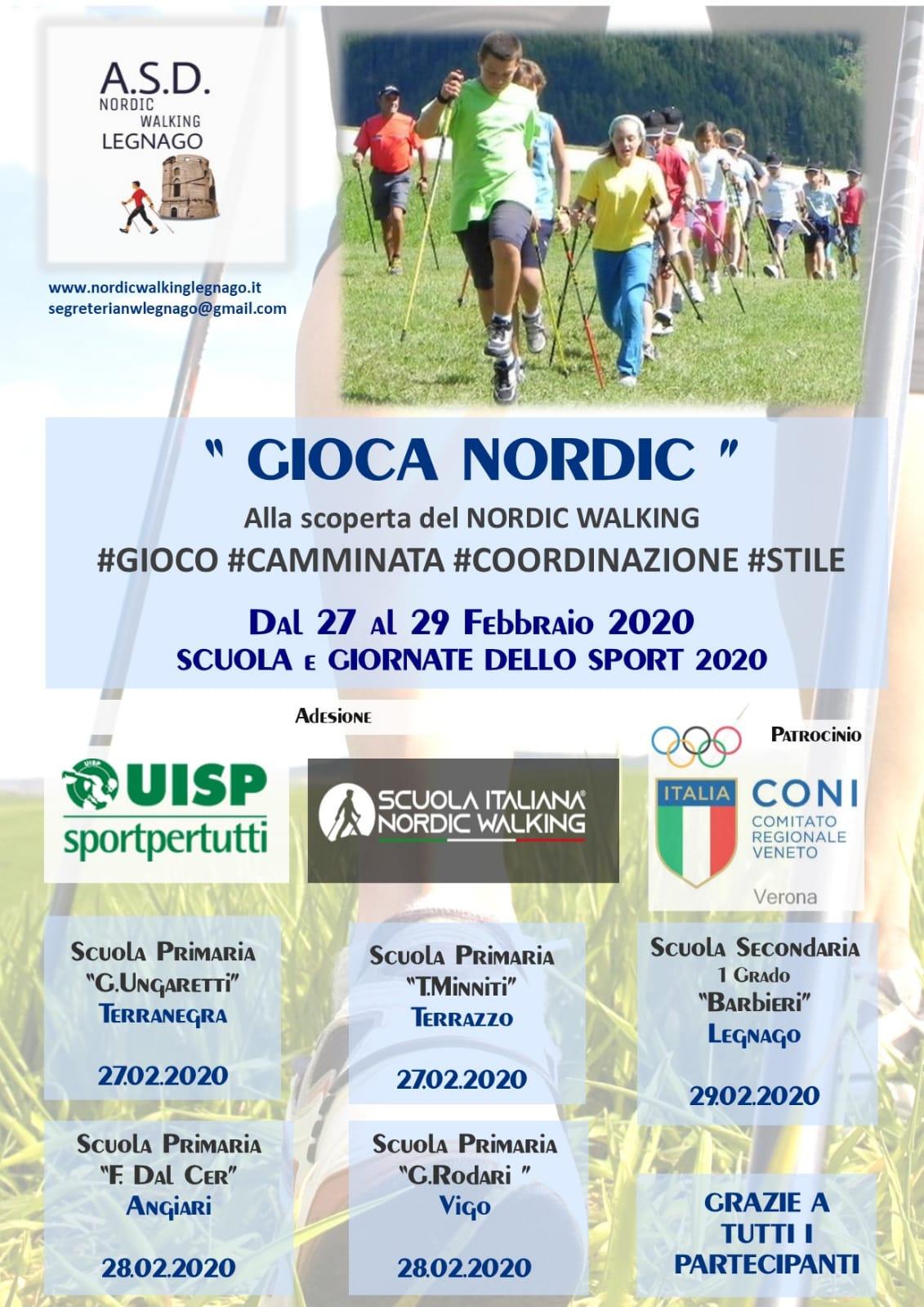 Dal 27 al 29 febbraio il Nordic Walking SINW entra nelle scuole del veronese, grazie all'A.S.D. Nordic Walking Legnago