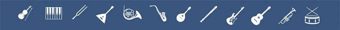 scuola di musica: decorazione strumenti