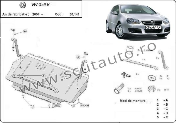 Scut auto VW Golf 5