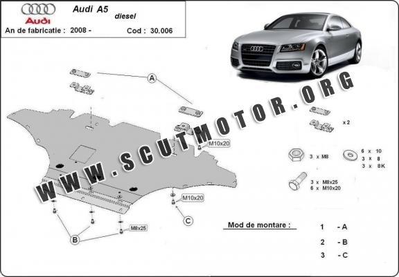 Scut motor metalic frontal Audi A5 dupa 2008