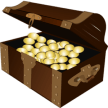 some gold coin inside box