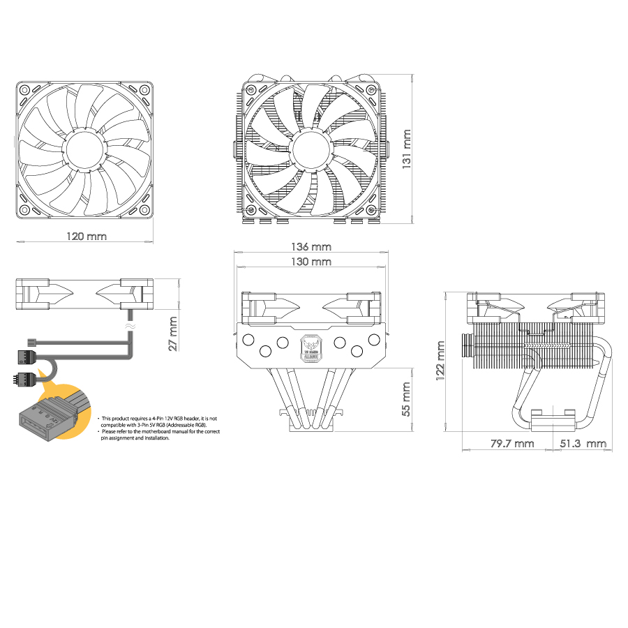 medium resolution of overall dimensions w x h x d 136 x 122 x 131 mm with the fan