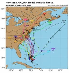 Graphic of potential paths for Hurricane Joaquin