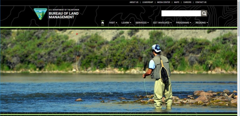 Bureau of Land Management - Website Front Page