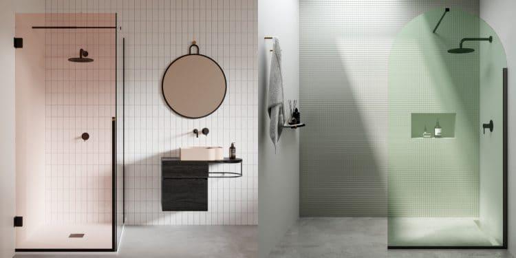 avec la couleur la paroi de douche