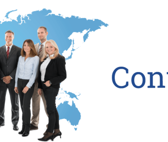 A Group Of People In Front Of The World Contact Us