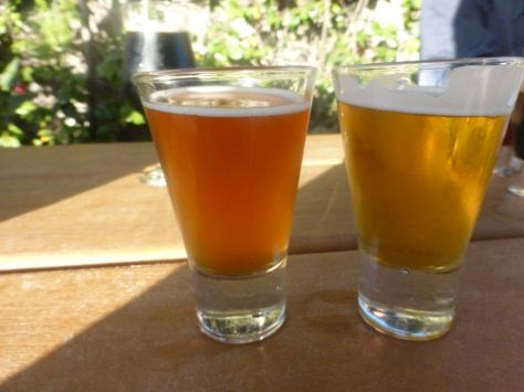 White IPA (right), Bourbon Barrel Trippel (left)