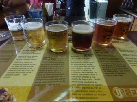 Taster flight at Cervezeria Tijuana.