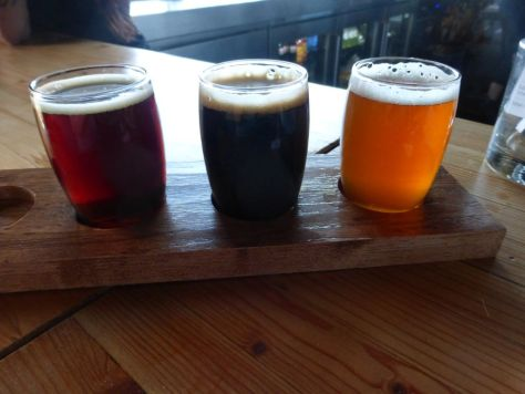 Second flight, left to right Scotch Ale, American Stout, Double IPA.