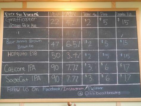 Offbeat brewing beer list.